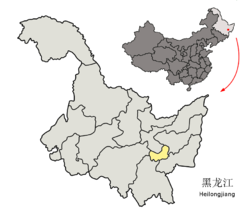 Location of Qitaihe City (yellow) in Heilongjiang (light grey) and China