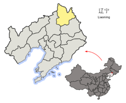 Location of Tieling City jurisdiction in Liaoning