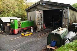 Locomotive shed at Woody Bay railway station (1130).jpg
