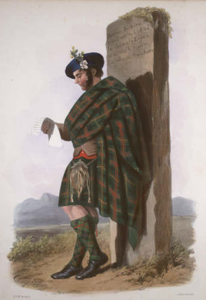 "Clan Logan - ""Logan"". A Victorian era romanticised depiction of a member of the clan by R. R. McIan, from The Clans of the Scottish Highlands, published in 1845."