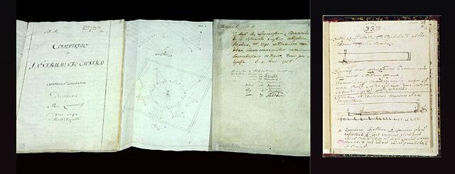 Рисунки М.В.Ломоносова из рукописей: катоптрико-диоптрический зажигательный инструмент и однозеркальный телескоп. 1762