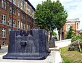 London-Woolwich, Royal Arsenal, steam hammer bases at Wellington Park - Arsenal Way 02.jpg