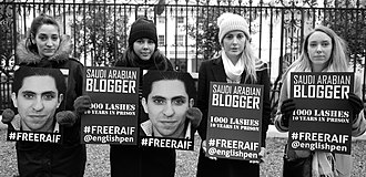 Prisoner of conscience - A protest outside the Saudi Arabian Embassy in London against detention of Saudi blogger Raif Badawi, 2017
