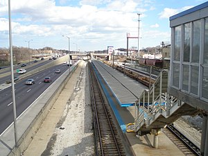 Harlem station (CTA Blue Line Congress branch) - The station from the Circle Avenue overpass.