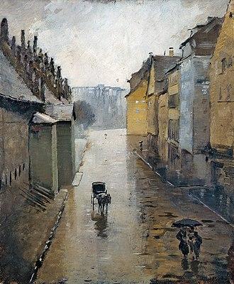 Lothar von Seebach - Image: Lothar Von Seebach, La rue de la Douane à Strasbourg, effet de pluie