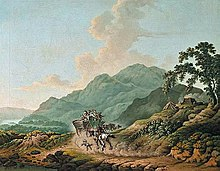 18th-century painting of horse-drawn coach on a country road