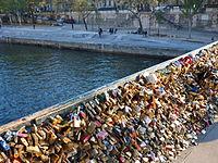 Love padlocks on the Pont de l'Archevêché in Paris