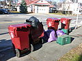 Lowell trash barrels and trash bags; Lowell, MA; 2011-12-08.JPG
