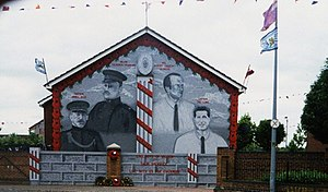 Larne gun-running - Mural in Island Street, East Belfast, 2001, depicting two of those involved in the Larne gun-running; Captain Craig (far-left) and Major Crawford (second from left)