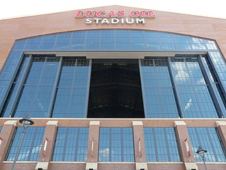Lucas Oil Stadium - Attendees can see the Indianapolis skyline through this movable window