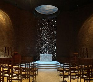 MIT Chapel - Sunlight cascades from a skylight onto a white marble altar