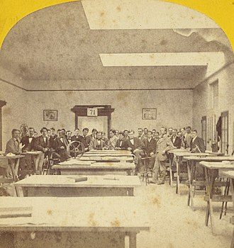 Massachusetts Institute of Technology - Stereographic card showing an MIT mechanical drafting studio, 19th century (photo by E.L. Allen, left/right inverted)