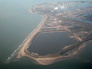 Port of Rotterdam - Aerial view of the Maasvlakte area, one of the latest extensions to the port.