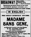 Madame Sans Gene Broadway Theatre NY Sun Jan 13 1895.png