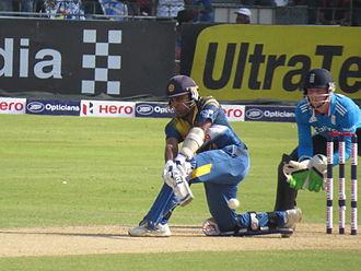 Mahela Jayawardene - Jayawardene batting vs England in his final ODI in Sri Lanka