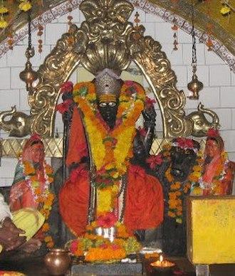 Banai (goddess) - Khandoba with Mhalsa and Banai, at Mailar Mallanna Temple, Khanapur near Bidar, Karnataka