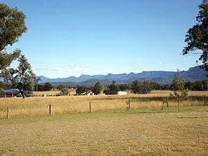 Main Range National Park - Main Range including Cunninghams Gap viewed from Rosevale, 2015