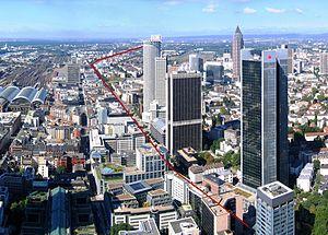 Mainzer Landstraße - Mainzer Landstraße as seen from the Main Tower
