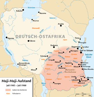 Maji Maji Rebellion - Map of German East Africa with the areas affected by the rebellion highlighted in red.