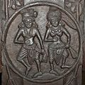 Male and Female Figures - Medallion - 2nd Century BCE - Red Sand Stone - Bharhut Stupa Railing Pillar - Madhya Pradesh - Indian Museum - Kolkata 2012-11-16 1835 Cropped.JPG