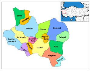 Alaşehir - Image: Manisa districts