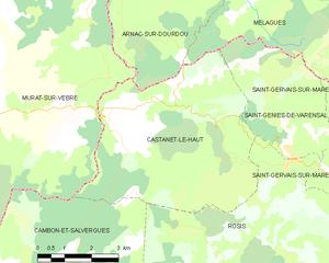 Castanet-le-Haut - Map