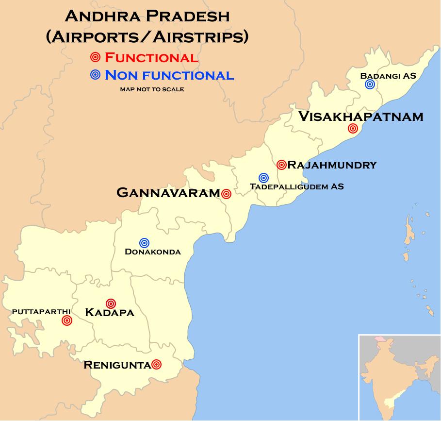 Map of Airports and airstrips of Andhra Pradesh