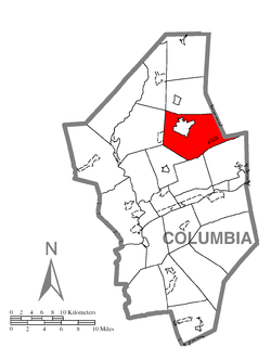 Location of Fishing Creek Township in Columbia County