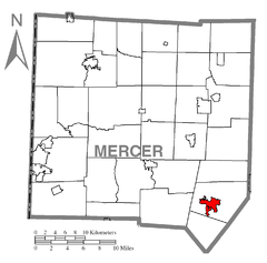 Map of Grove City, Mercer County, Pennsylvania Highlighted.png