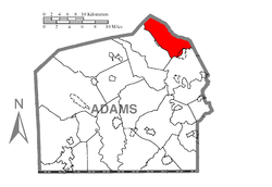 Map of Adams County, Pennsylvania highlighting Latimore Township