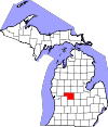 State map highlighting Montcalm County