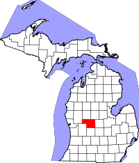 Map of Michigan highlighting Montcalm County