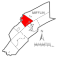 Map of Mifflin County Pennsylvania Highlighting Brown Township.PNG