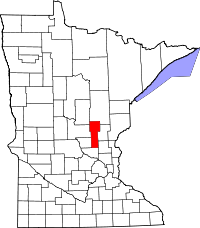 Map of Minnesota highlighting Mille Lacs County