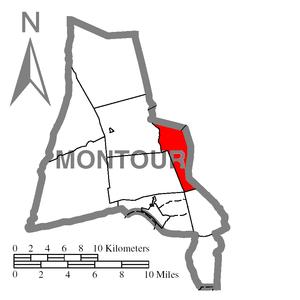 West Hemlock Township, Montour County, Pennsylvania - Image: Map of Montour County, Pennsylvania Highlighting West Hemlock Township