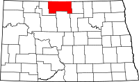 Map of North Dakota highlighting Bottineau County