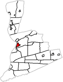 Map of Northumberland County highlighting Sunbury