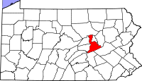 Map of Pennsylvania highlighting Northumberland County