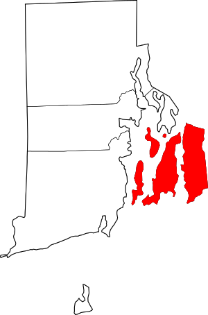 Map of Rhode Island highlighting Newport County