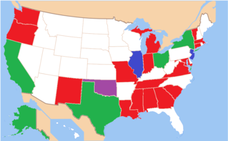 State defense force - State defense forces: army units highlighted in red, naval units in blue, those with both in green, inactive in purple
