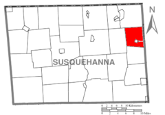 Map of Susquehanna County Pennsylvania highlighting Thompson Township.PNG