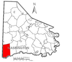 Location of West Finley Township in Washington County