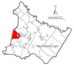 Map of Westmoreland County, Pennsylvania Highlighting North Huntingdon Township