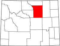 Map of Wyoming highlighting Johnson County