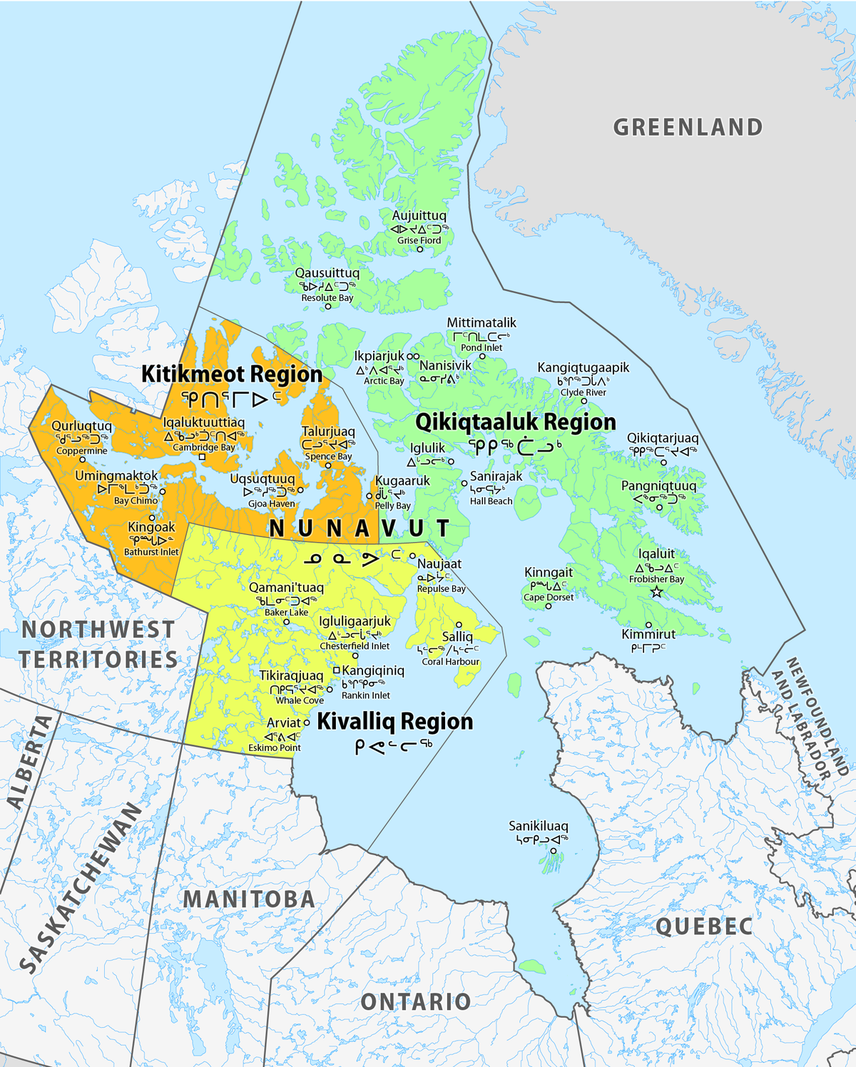 Map Of The Regions Of Canada.List Of Regions Of Nunavut Wikipedia