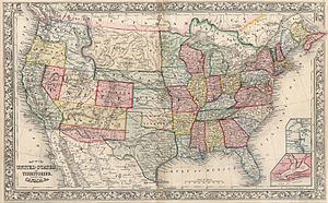 Confederate Arizona - 1861 map of the USA showing the Confederate Arizona Territory