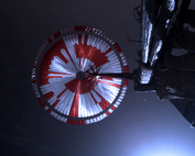 Perseverance's parachute during descent