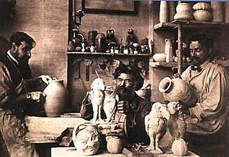 Studio pottery - The Martin brothers in their studio