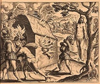 Anacaona - Massacre of the queen and her subjects, by Joos van Winghe, published in 1598 in the Brevísima relación de la destrucción de las Indias written by Bartolomé de las Casas.