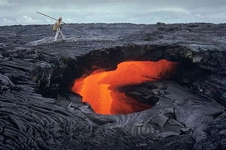 Lava tube on the Mauna Ulu flank, Hawaii, United States. Mauna Ulu lava tube october 1970.jpg